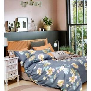 Modrá obojstranná posteľná obliečka zo saténovej bavlny s kvetinovým motívom