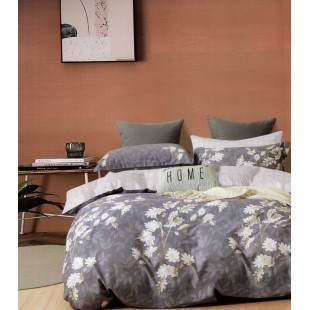 Fialová obojstranná posteľná obliečka zo saténovej bavlny s kvetinovým motívom