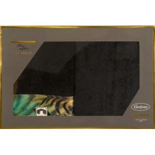 Sada 2 ručníkov v čiernej farbe s farebným vzorom