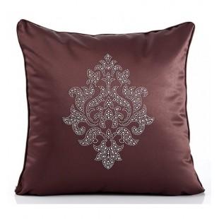 Hnedá luxusná obliečka na vankúš so strieborným vzorom