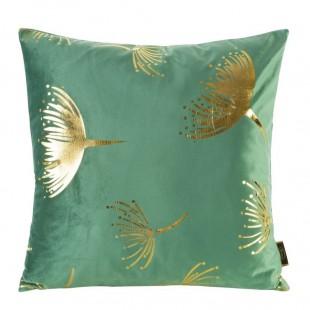 Zeleno-zlatá zamatová obliečka na dekoračný vankúš s rastlinným motívom