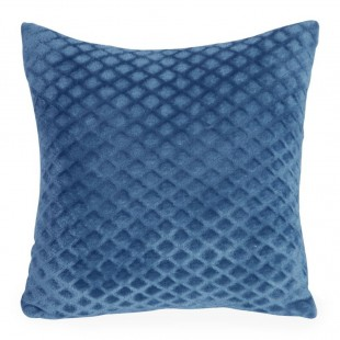 Modrá mäkká obliečka na dekoračný vankúš so vzorom