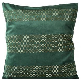 Zelená zamatová obliečka na dekoračný vankúš so vzorom