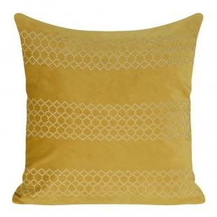 Žltá zamatová obliečka na dekoračný vankúš so vzorom