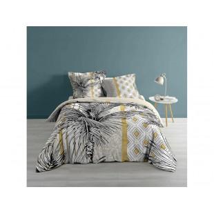 Bavlnená bielo-sivá posteľná obliečka s rastlinným motívom