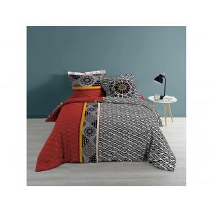 Červeno-čierna bavlnená posteľná obliečka so vzormi