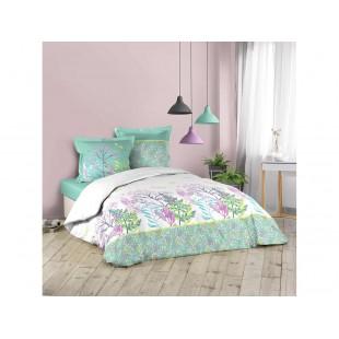 Mentolovo-biela bavlnená posteľná obliečka s rastlinným motívom
