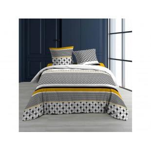 Čierno-biela bavlnená posteľná obliečka so vzormi