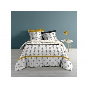 Bielo-čierna bavlnená posteľná obliečka so vzormi