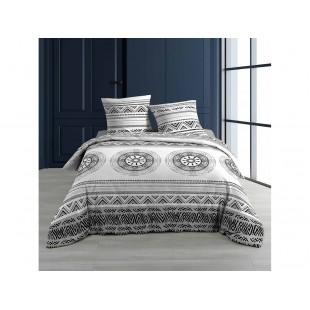 Sivo-čierna bavlnená posteľná obliečka so vzormi