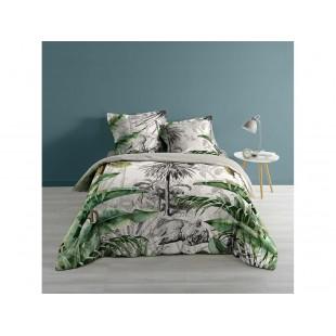 Sivo-zelená bavlnená posteľná obliečka s rastlinným a zvieracím motívom