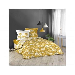 Žlto-biela bavlnená posteľná obliečka so safari motívom