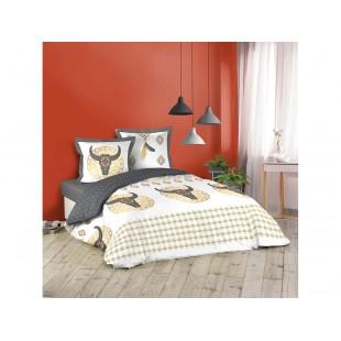 Bielo-sivá bavlnená posteľná obliečka so zvieracím motívom