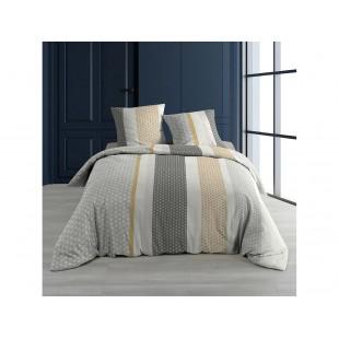 Bielo-sivá bavlnená posteľná obliečka so vzormi