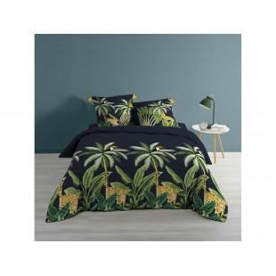 Čierno-zelené bavlnené posteľné obliečka s rastlinným motívom