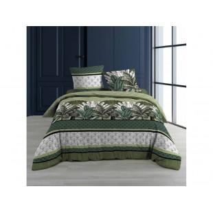 Zeleno-sivá bavlnená posteľná obliečka s rastlinným motívom