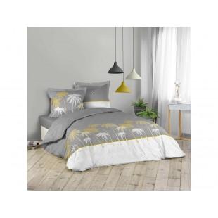 Sivo-biela bavlnená posteľná obliečka s motívom paliem
