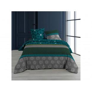 Sivo-modrá bavlnená posteľná obliečka so vzormi