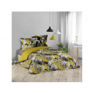 Žlto-sivá bavlnená posteľná obliečka s kvetinovým motívom