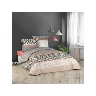 Sivo-ružová bavlnená posteľná obliečka so vzormi
