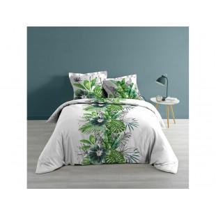 Bielo-zelená bavlnená posteľná posteľná obliečka s rastlinným motívom