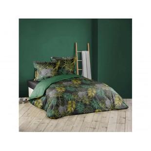 Čierno-zelená bavlnená posteľná obliečka s rastlinným motívom