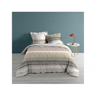 Sivo-krémová bavlnená posteľná obliečka so vzorom