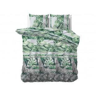 Sivo-zelená posteľná obliečka s rastlinným motívom zo syntetickej bavlny