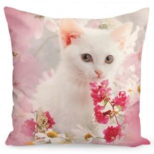 Ružová obliečka na dekoračný vankúš s mačičkou