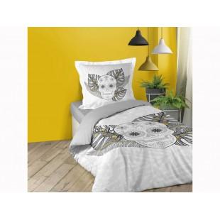 Sivá bavlnená posteľná obliečka s motívom lebky