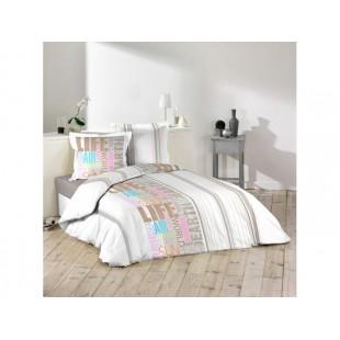 Viacfarebná bavlnená posteľná obliečka s nápismi