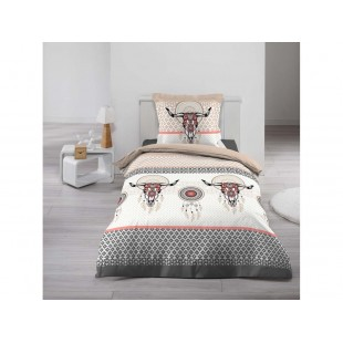 Hnedo-biela bavlnená posteľná obliečka s lapačmi snov