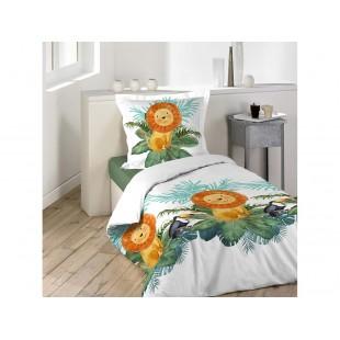 Biela bavlnená posteľná obliečka s levom