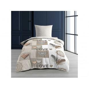 Béžová bavlnená posteľná obliečka s nápismi LOVE