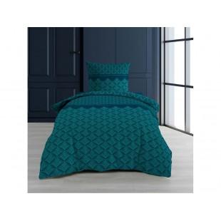 Tyrkysovo-modrá bavlnená posteľná obliečka so vzormi