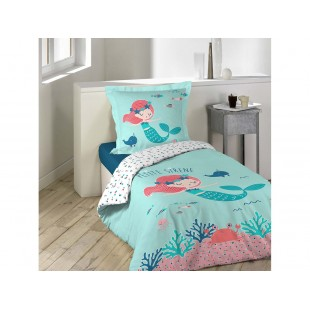 Modrá bavlnená posteľná obliečka s morskou pannou