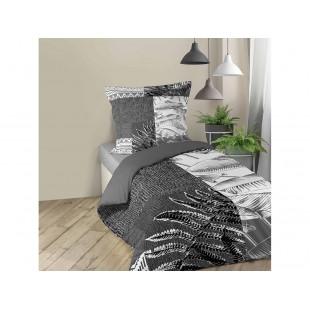 Sivo-biela bavlnená posteľná obliečka s rastlinným motívom