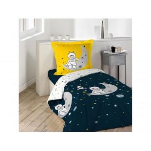 Tmavomodrá bavlnená posteľná obliečka s kozmonautom