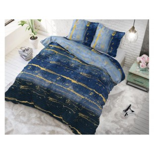 Tmavomodrá posteľná obliečka zo syntetickej bavlny