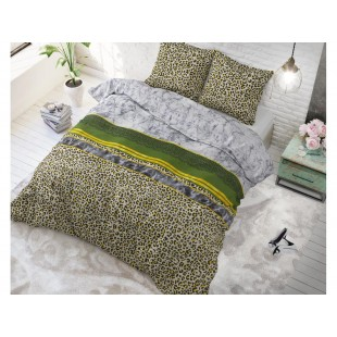 Sivo-zelená posteľná obliečka so zvieracím potívom zo syntetickej bavlny