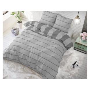 Sivá posteľná obliečka zo syntetickej bavlny s pásikovým motívom