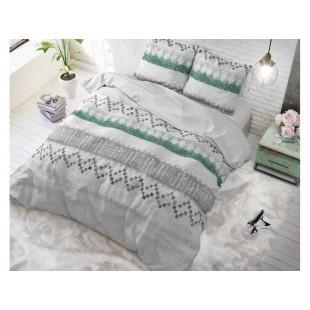 Sivá posteľná obliečka zo syntetickej bavlny so vzorom