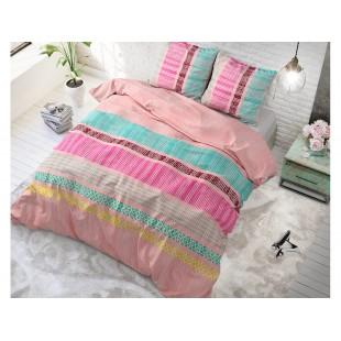 Ružová posteľná obliečka zo syntetickej bavlny so vzorom