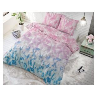 Ružovo-modrá posteľná obliečka zo syntetickej bavlny
