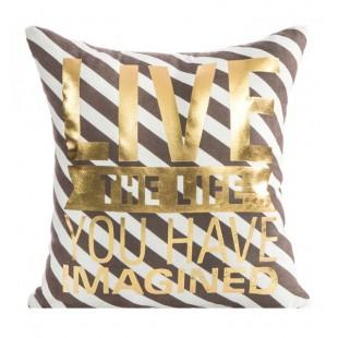 Pruhovaná hnedá dekoračná obliečka na vankúšik so zlatými nápismi LIVE