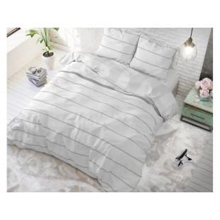 Svetlosivá posteľná obliečka zo syntetickej bavlny s pásikovým motívom