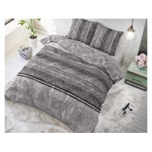 Tmavosivá posteľná obliečka zo syntetickej bavlny so vzorom