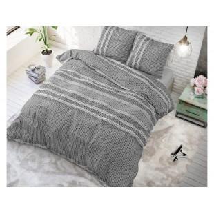 Sivá posteľná obliečka zo syntetickej bavlny som vzorom