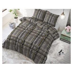 Sivo-hnedá posteľná obliečka zo syntetickej bavlny s prúžkami