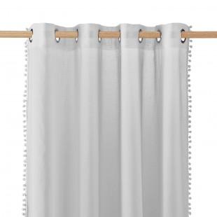 Sivá záclona na kruhy s guličkovým lemom